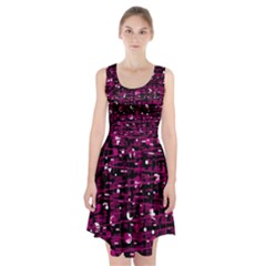 Magenta Abstract Art Racerback Midi Dress