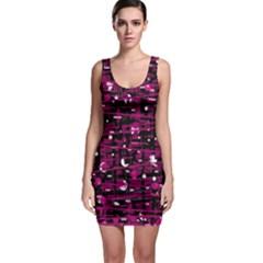 Magenta abstract art Sleeveless Bodycon Dress