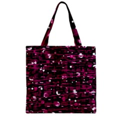 Magenta abstract art Zipper Grocery Tote Bag