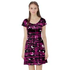 Magenta abstract art Short Sleeve Skater Dress