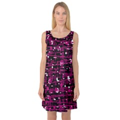 Magenta abstract art Sleeveless Satin Nightdress