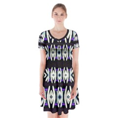 A Touch Of Japan Short Sleeve V-neck Flare Dress