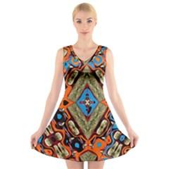 Imagesf4rf4ol (2)ukjikkkk, V Neck Sleeveless Skater Dress