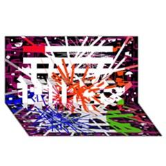 Colorful big bang HUGS 3D Greeting Card (8x4)