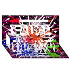Colorful big bang Laugh Live Love 3D Greeting Card (8x4)