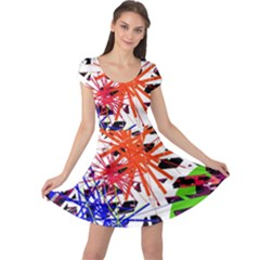 Colorful big bang Cap Sleeve Dresses