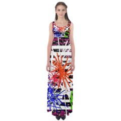 Colorful big bang Empire Waist Maxi Dress