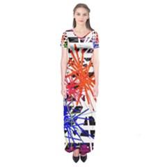 Colorful big bang Short Sleeve Maxi Dress