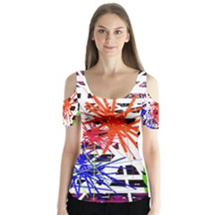 Colorful big bang Butterfly Sleeve Cutout Tee