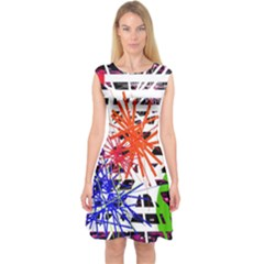 Colorful Big Bang Capsleeve Midi Dress