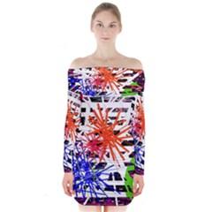 Colorful big bang Long Sleeve Off Shoulder Dress