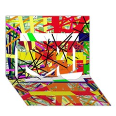 Colorful Abstraction By Moma I Love You 3d Greeting Card (7x5)