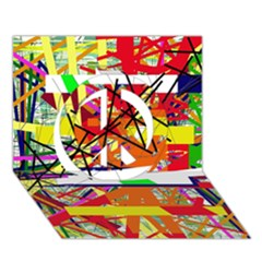 Colorful abstraction by Moma Peace Sign 3D Greeting Card (7x5)