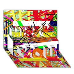 Colorful Abstraction By Moma Miss You 3d Greeting Card (7x5)