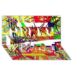 Colorful abstraction by Moma Merry Xmas 3D Greeting Card (8x4)