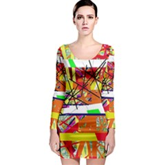 Colorful abstraction by Moma Long Sleeve Bodycon Dress