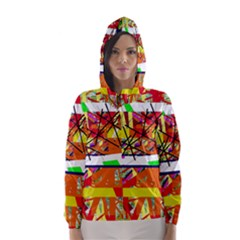 Colorful abstraction by Moma Hooded Wind Breaker (Women)