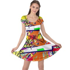 Colorful abstraction by Moma Cap Sleeve Dresses