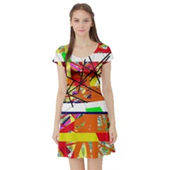 Colorful abstraction by Moma Short Sleeve Skater Dress