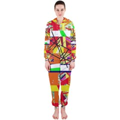 Colorful abstraction by Moma Hooded Jumpsuit (Ladies)