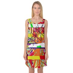 Colorful abstraction by Moma Sleeveless Satin Nightdress