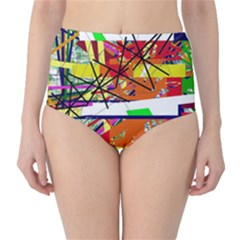 Colorful abstraction by Moma High-Waist Bikini Bottoms