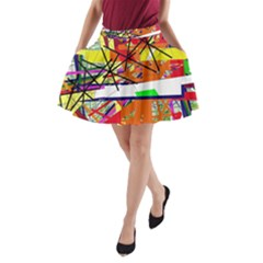 Colorful abstraction by Moma A-Line Pocket Skirt