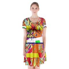 Colorful Abstraction By Moma Short Sleeve V Neck Flare Dress