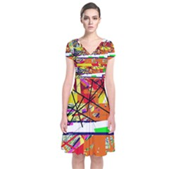 Colorful abstraction by Moma Short Sleeve Front Wrap Dress