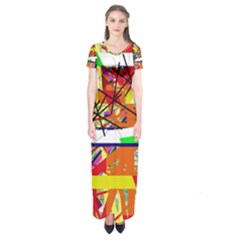 Colorful abstraction by Moma Short Sleeve Maxi Dress