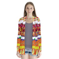 Colorful abstraction by Moma Drape Collar Cardigan