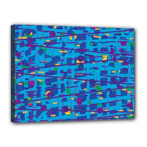 Blue decorative art Canvas 16  x 12