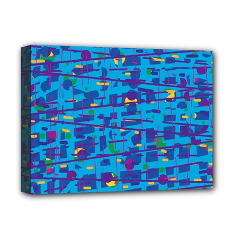 Blue decorative art Deluxe Canvas 16  x 12