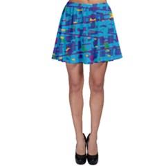 Blue decorative art Skater Skirt