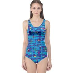 Blue decorative art One Piece Swimsuit