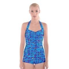 Blue decorative art Boyleg Halter Swimsuit