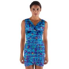 Blue decorative art Wrap Front Bodycon Dress