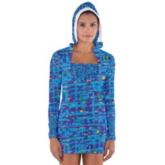 Blue decorative art Women s Long Sleeve Hooded T-shirt