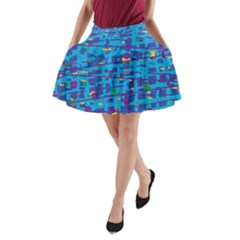 Blue decorative art A-Line Pocket Skirt