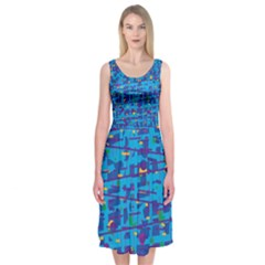 Blue decorative art Midi Sleeveless Dress