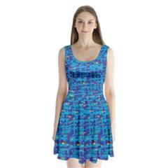 Blue decorative art Split Back Mini Dress