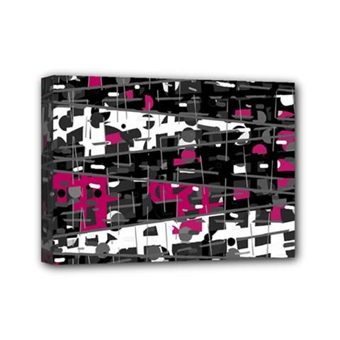 Magenta, white and gray decor Mini Canvas 7  x 5