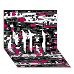 Magenta, white and gray decor GIRL 3D Greeting Card (7x5)