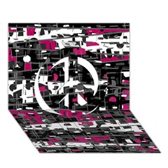 Magenta, white and gray decor Peace Sign 3D Greeting Card (7x5)