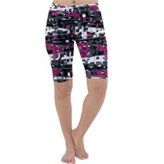 Magenta, white and gray decor Cropped Leggings