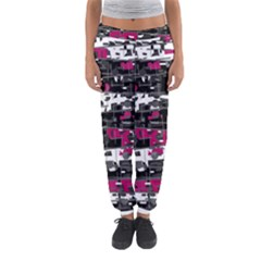 Magenta, white and gray decor Women s Jogger Sweatpants