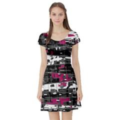 Magenta, white and gray decor Short Sleeve Skater Dress