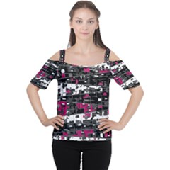 Magenta, white and gray decor Women s Cutout Shoulder Tee