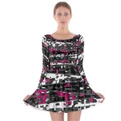 Magenta, white and gray decor Long Sleeve Skater Dress