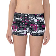 Magenta, white and gray decor Reversible Boyleg Bikini Bottoms